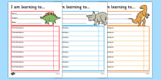 Dinosaur Themed Target and Achievement Sheets