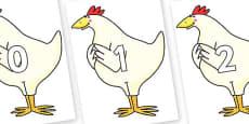 Numbers 0-100 on Hullabaloo Chicken to Support Teaching on Farmyard Hullabaloo