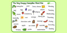 Word Mat to Support Teaching on The Very Hungry Caterpillar