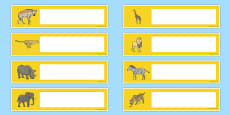 Safari Themed Editable Gratnells Tray Labels