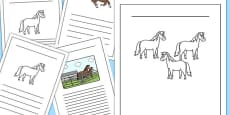 Horses and Ponies Writing Frames Lined