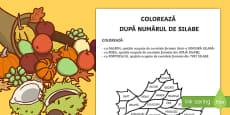 Coloreaza dupa numarul de silabe - Fișă de lucru
