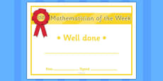 Mathematician of the Week Certificate