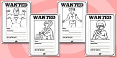 Superheroes Wanted Posters Colouring Sheets