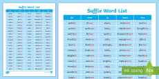 Suffix Word List