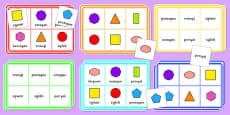 2D Shape Bingo Cymraeg