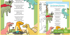 Five Enormous Dinosaurs Counting Song Sheet