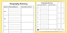 Physical Geography KS1 Glossary Activity