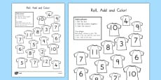 Football Roll and Color Activity Sheet
