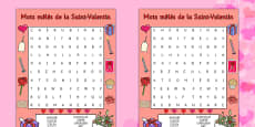 Valentine's Day Word Search French
