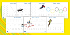 USA Olympics Pencil Control Activity Sheets