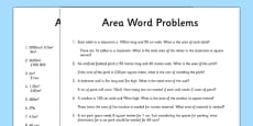 Word Problems Using Area Activity Sheet