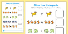 Addition Sheet to Support Teaching on Aliens Love Underpants