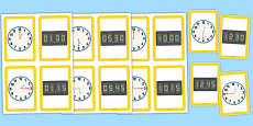 Analogue Digital Clocks Matching Cards