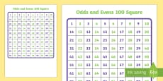 100 Square(1-100)- Odds and Evens