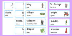 St George and the Dragon Story Word Cards Polish Translation
