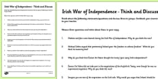 The Irish War of Independence Think and Discuss Activity Sheet