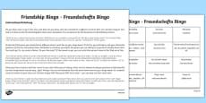 Back To School New Class Friendship Bingo Activity German Translation English / German - Englisch / Deutsche