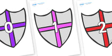 Numbers 0-50 on Shields