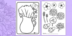 Mother's Day Flower Bouquet Colouring Activity Romanian