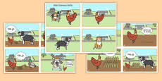 The little Red Hen Story Sequencing 4 per A4 speech bubbles Polish