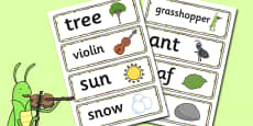 The Ant and the Grasshopper Word Cards