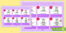 Subtraction Column Method 3 Digit Numbers Poster