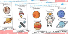 Space Scene Labelling Cut and Stick Activity Sheet (Australia)