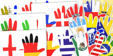 World Flag Handprint Cut Outs