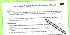 2014 Curriculum LKS2 Years 3 and 4 Reading Assessment Individual Checklist