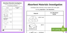 * NEW * Absorbent and Non-Absorbent Materials Activity Sheet