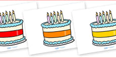Editable Birthday Cakes (5 Candles)