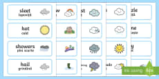 Weather Word Cards English/Romanian