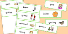 Two Syllable QU Word Cards