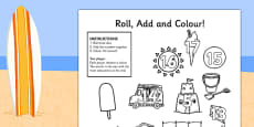 Summer Themed Three Dice Roll and Colour Activity Sheets