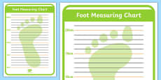 Shoe Shop Role Play Foot Measuring Chart