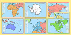KS1 Geography Continents of the World Fact File Display Posters