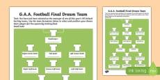 G.A.A. Football Final Dream Team Activity Sheet