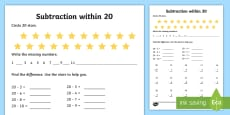 * NEW * Subtraction within 20 Activity Sheet