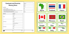Continents and Countries Memory Game