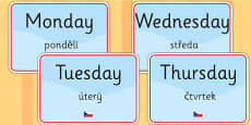 Days of the Week Display Signs EAL Czech Version