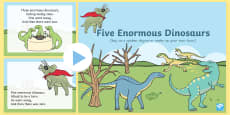 Five Enormous Dinosaurs Counting Song PowerPoint