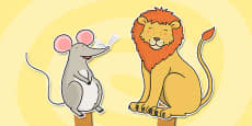 The Lion And The Mouse Stick Puppets