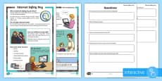 * NEW * KS2 Internet Safety Day Differentiated Comprehension Go Respond Activity Sheets