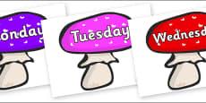 Days of the Week on Mushrooms
