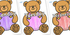 Days of the Week on Dungaree Teddy