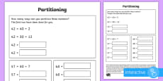 Partitioning in different ways Go Respond Activity Sheet