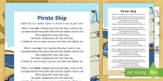 Pirate Ship Counting Song Sheet