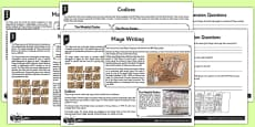 Maya Writing Differentiated Reading Comprehension Activity