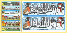 Months of the Year With Seasons Theme Display Posters Gaeilge